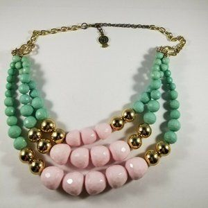 Pink Blue Gold Tone Multi  Triple Strand Necklace